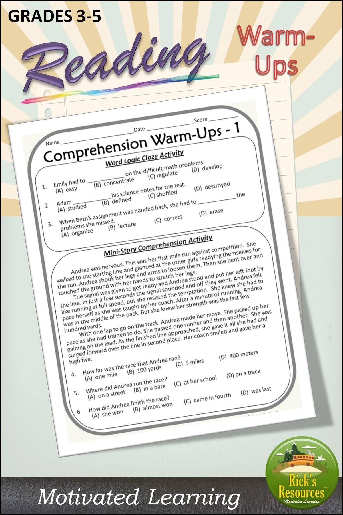 Comprehension Warm Ups Cloze Activity Reading Comprehension Skills Reading Comprehension [ 1800 x 1200 Pixel ]