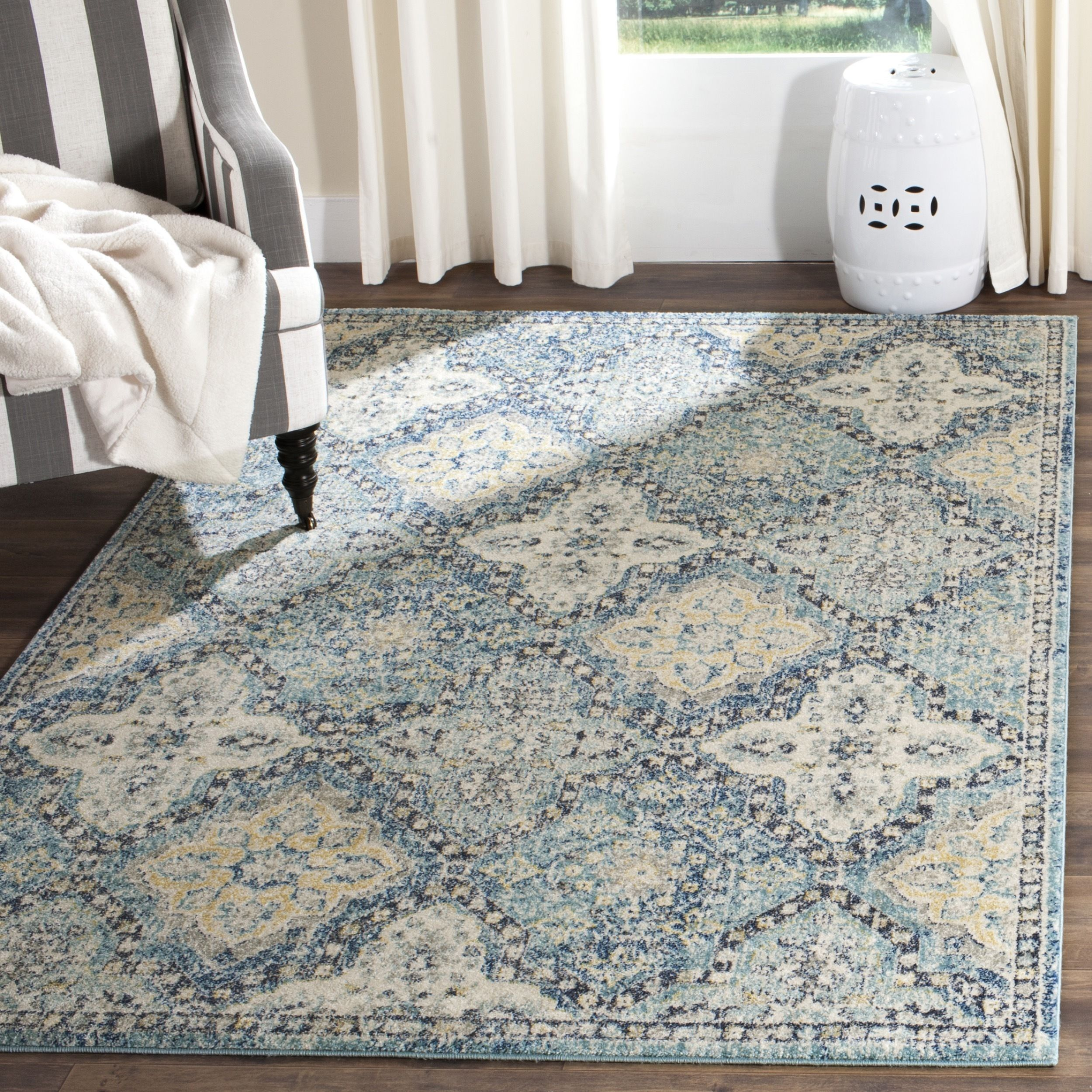 Safavieh Evoke Light Blue Ivory Rug 10 X 14 Evk274c 10 Size 10 X 14 Polypropylene Trellis Distressed Rugs Cool Rugs Rugs