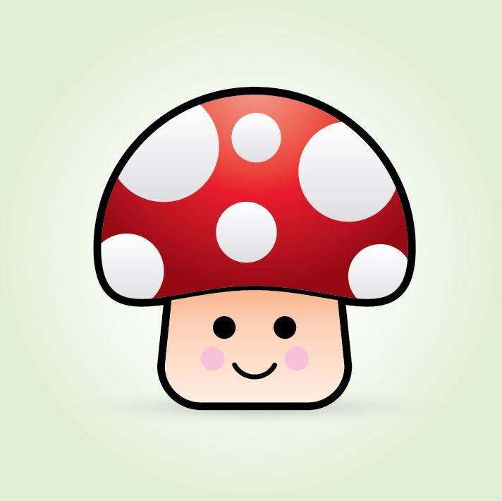 how to create a cute vector mushroom character mushrooms