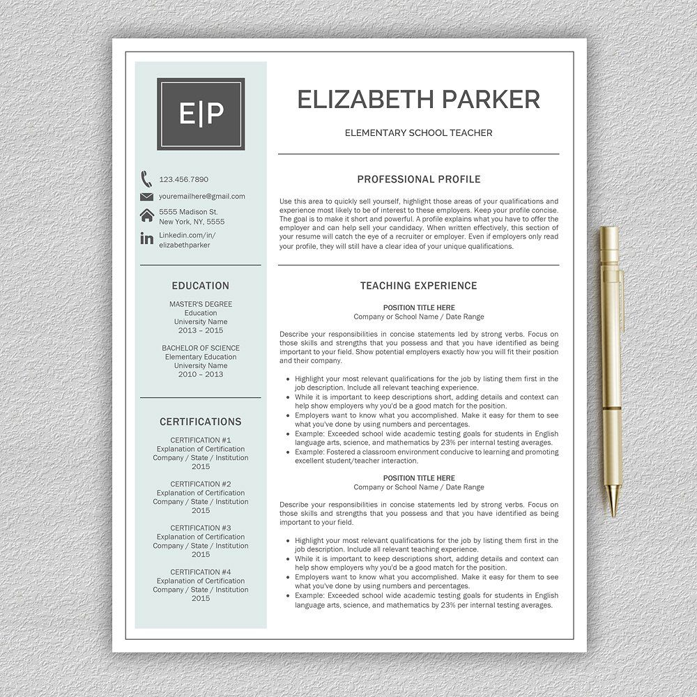 Teacher Resume Examples Best Teacher Cv  Teacher Resume  Resumes  1  Work Cv Templates Design Ideas