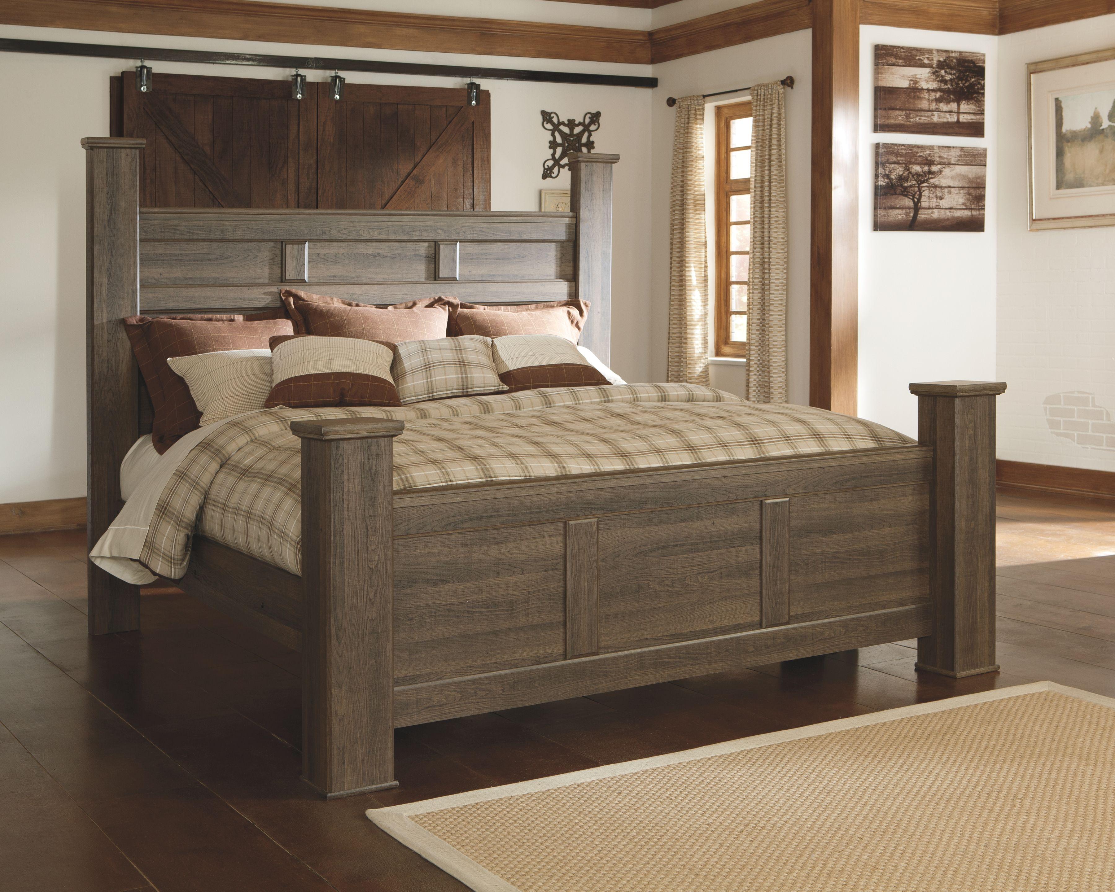 Juararo California King Poster Bed Dark Brown Bedroom Sets