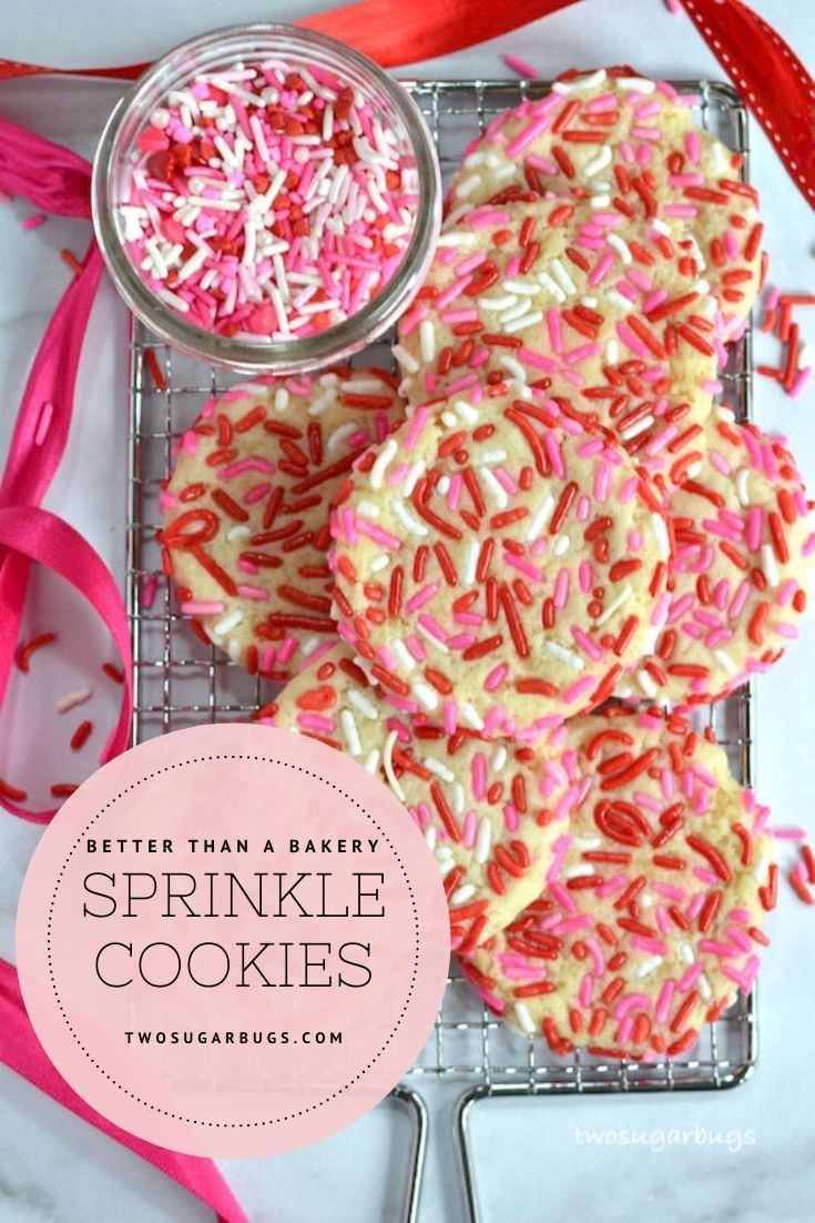 Sprinkle Cookies ~ This EASY cookie recipe creates the best soft, chewy, sprinkle covered sugar cookies!! No need to bring your butter and cream cheese to room temperature and NO CHILL time. Better than any bakery cookie and ready in about 30 minutes! ~ #sprinklecookies #sugarcookies #nochillcookierecipe #easycookierecipe #softsugarcookie #valentinesdaycookies