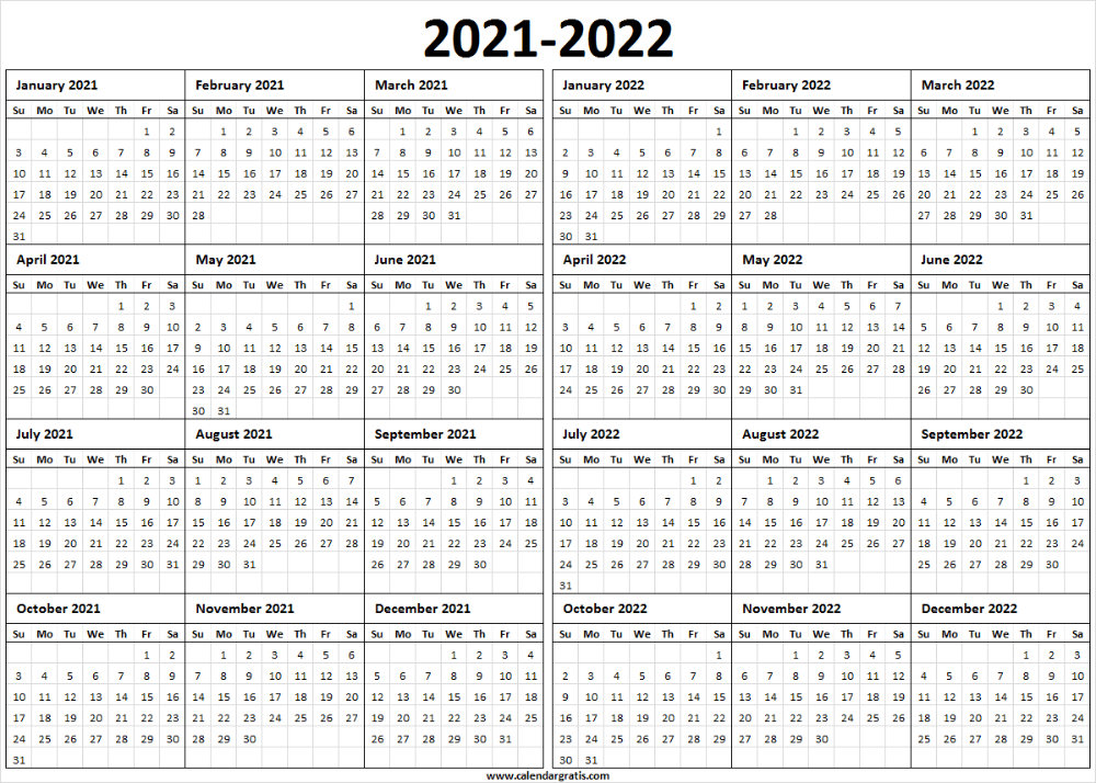 Two Year Calendar 2021 2022 Printable Template for Pinterest. in