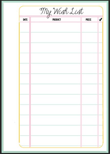 Filofax Wish List Printable  Printable Wish List Template