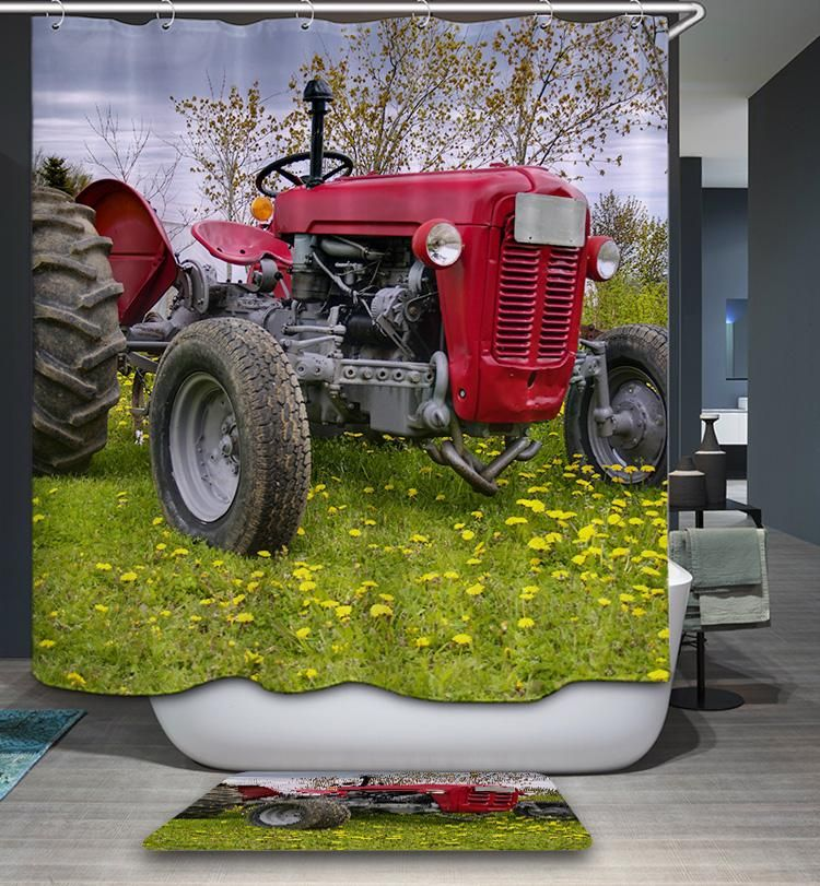Farm Red Tractor Shower Curtain Bathroom Decor Red Tractor