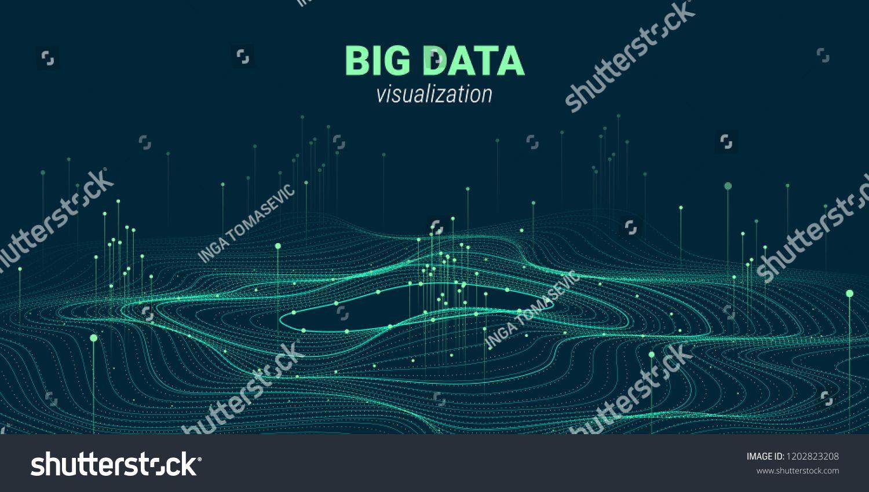 Big Data Vector Visualization 3d Futuristic Cosmic Design
