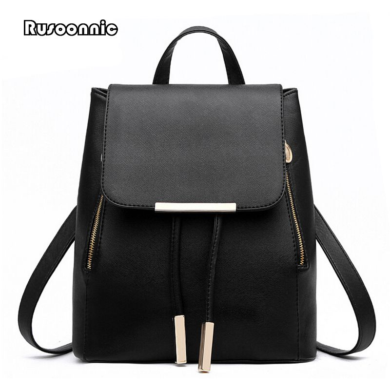 Women Black Leather Backpacks Schoolbags Travel Shoulder Bag Mochila Feminina