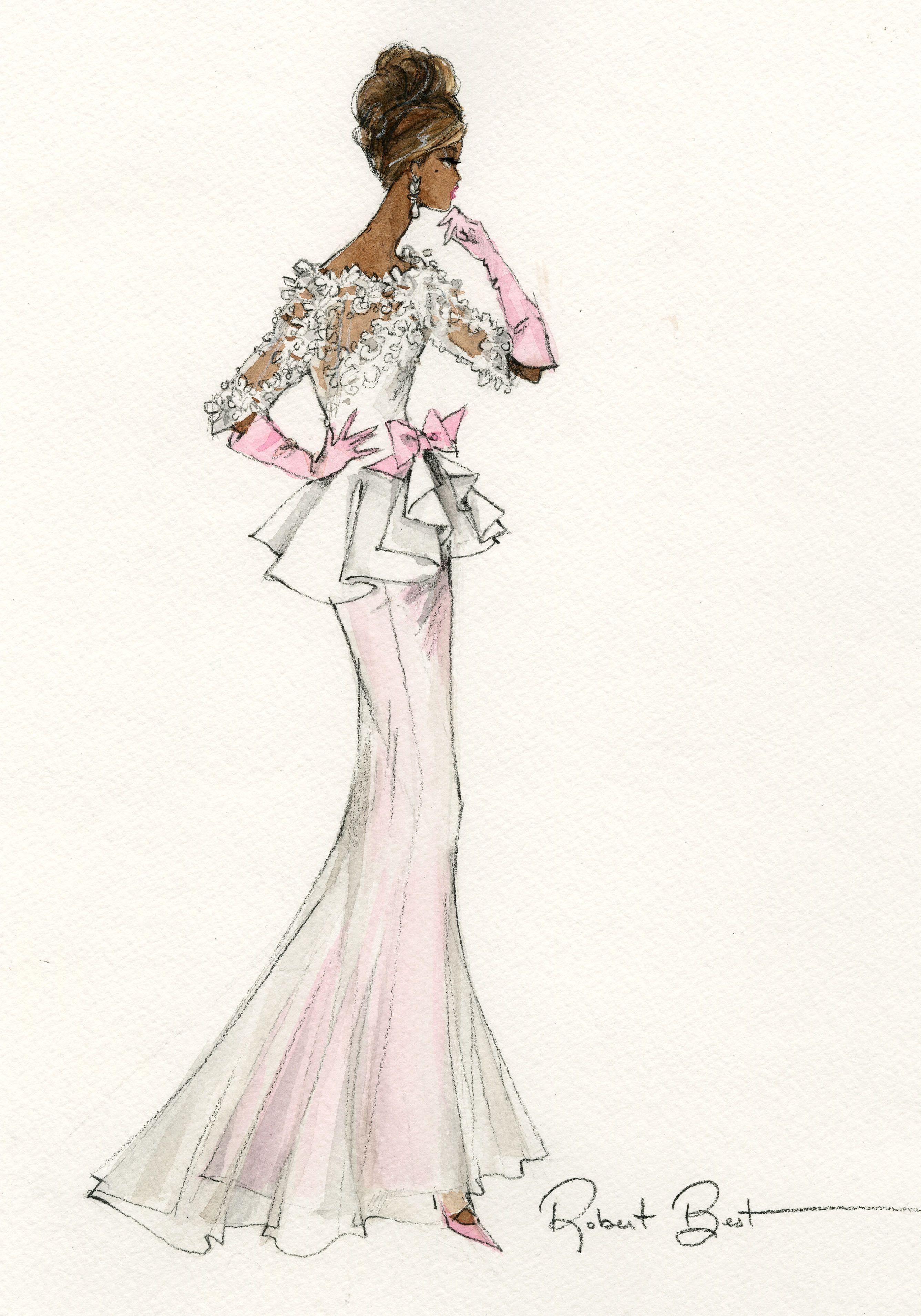Barbie Dress Drawing Easy H Nichols Illustration Figurines Pinterest