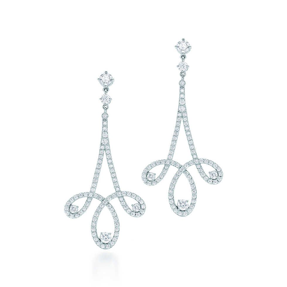 Tiffany Enchant® scroll earrings in platinum with diamonds.