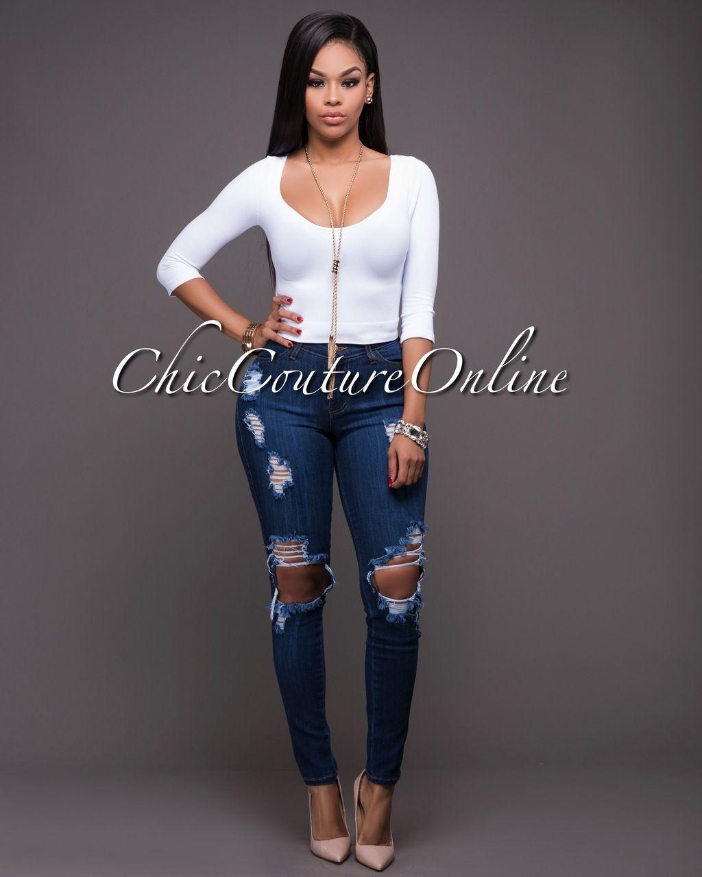 d80660479ec1 Chic Couture Online - Maverick Dark Wash Denim Destroyed Jeans
