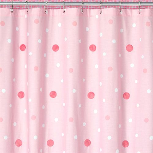 Pink and White Polka Dot Kids Fabric Shower Curtains for Girls with ...