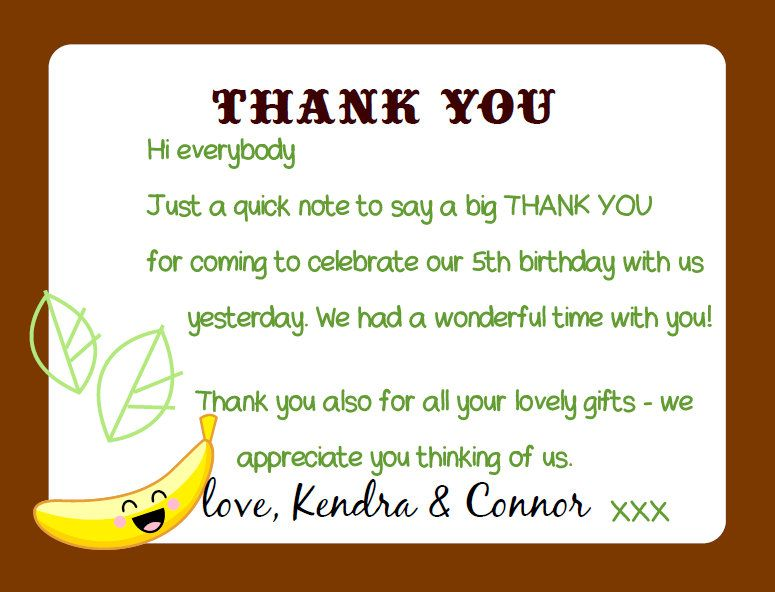 Thank Tou Note Ideas For Birthday Party Google Search Projects