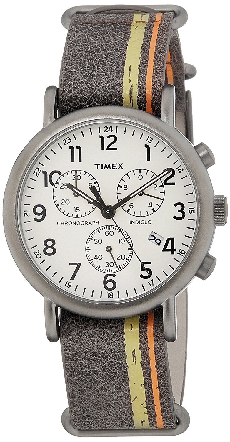 Amazon.com: Timex Weekender Chronograph Off-White Dial Men's Watch - TW2P78000: Watches (With images)   Timex watches. Timex. Leather watch