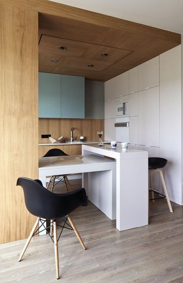 Küchen mit esstheke  einrichtungsideen kleine küche weiße esstheke esstisch | Küche ...