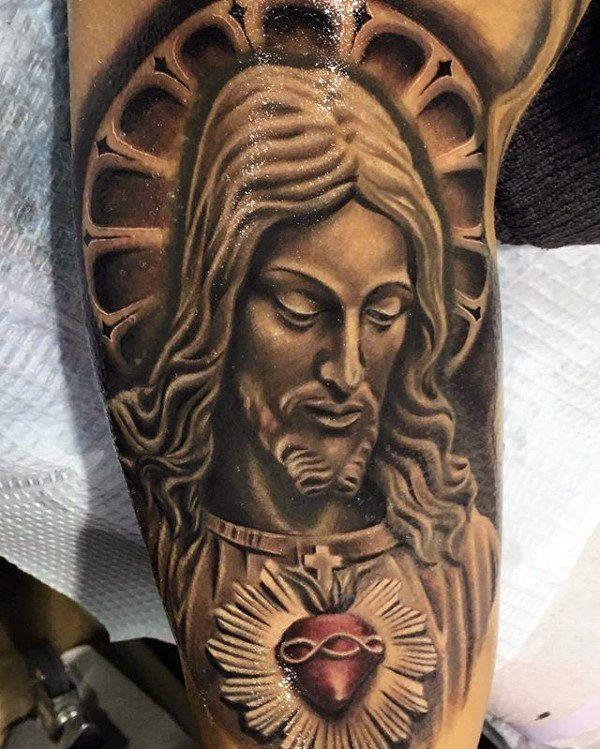 mens 3d jesus sacred heart half sleeve tattoo chicano pinterest sacred heart tattoo and. Black Bedroom Furniture Sets. Home Design Ideas