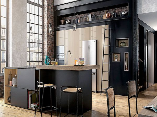 cuisine am ricaine des id es pour un am nagement ouvert cuisine americaine noir mat et ilot. Black Bedroom Furniture Sets. Home Design Ideas