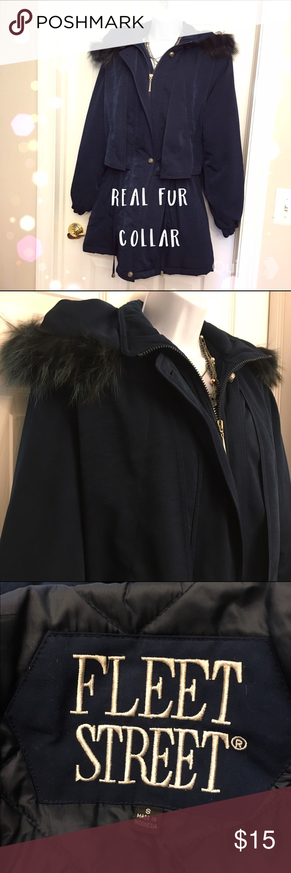 Long Winter Coat With Removable Fur Collar Super cute winter coat by Fleet Street. This coat is super warm has an adjustable drawstring waist and a removable real fur collar! The coat is a dark blue. Jackets & Coats