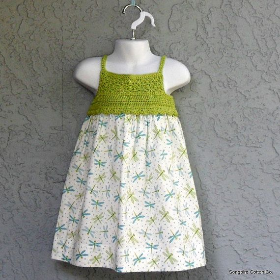 Crochet Top Sundress in Dragonfly Breeze Ready by SongbirdCottonCo, $30.00...so cute!  Gonna have to make some of these when I learn to sew!