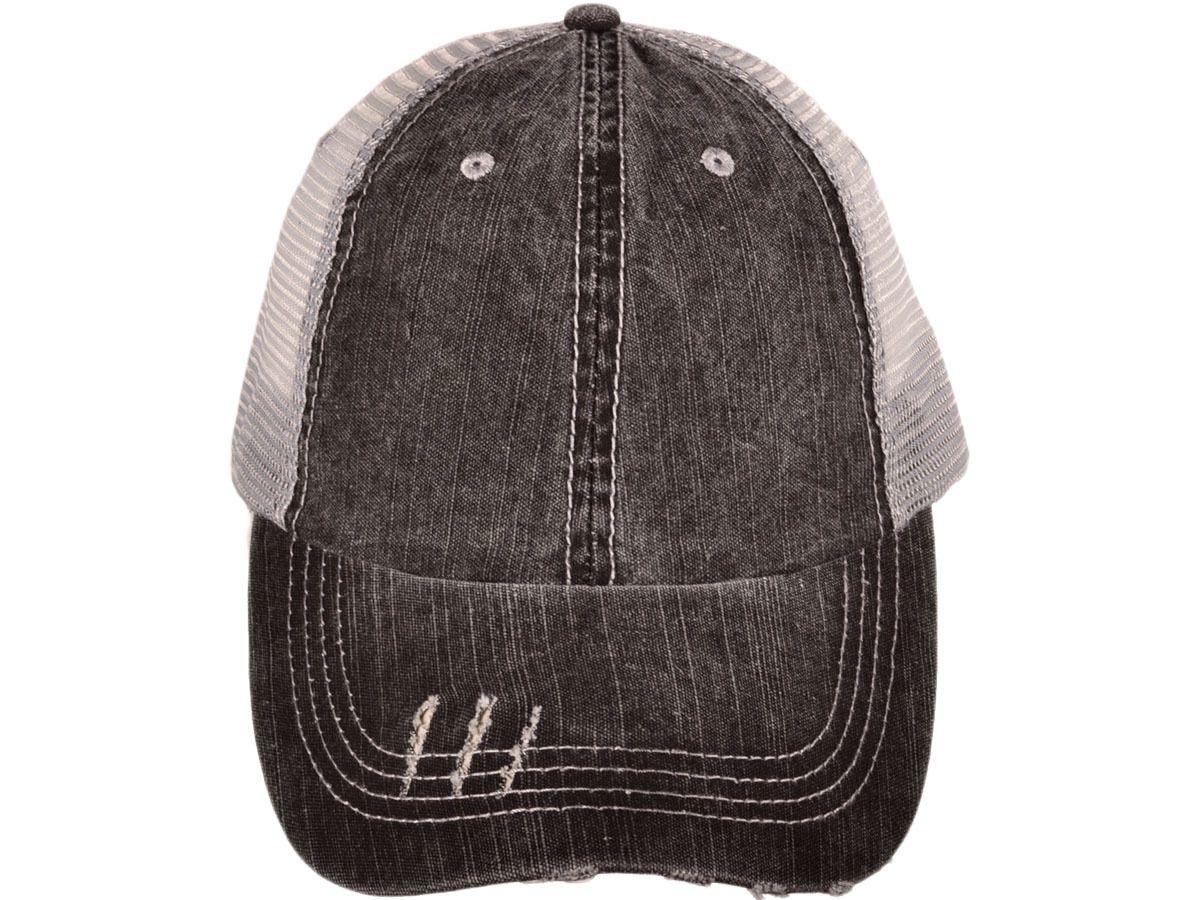 753a38de1de71 Wholesale Low Profile Unstructured Special Washed Cotton Twill Distressed  Mesh Trucker Caps( Black)