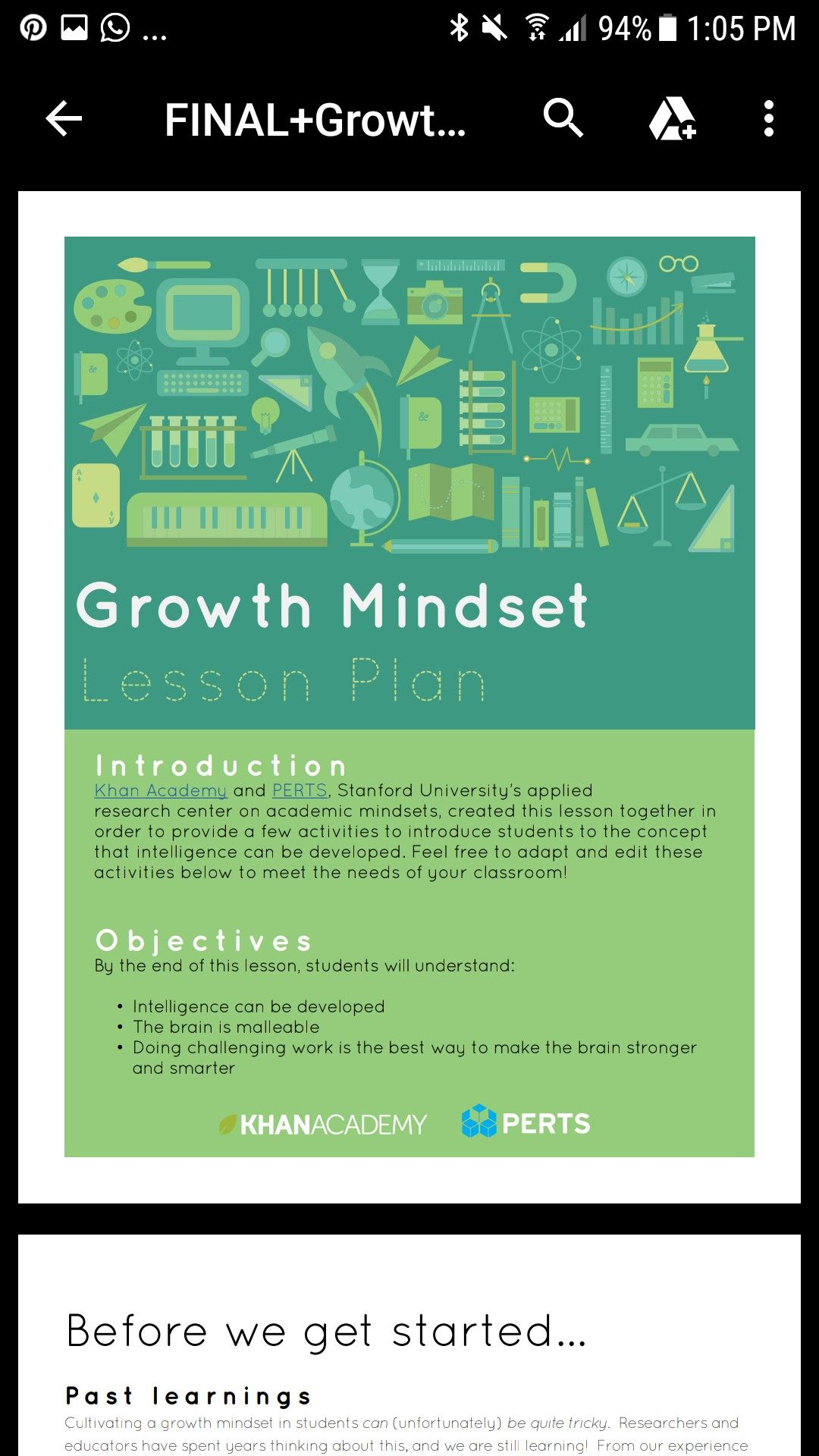 Lesson plan in emails. Growth mindset (With images