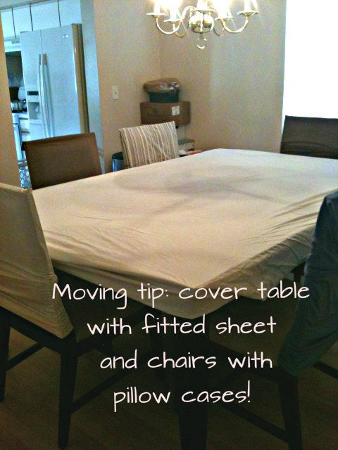 Cover table with fitted sheet before covering it with tarp and