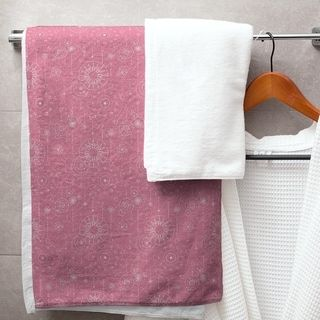 Astrology Pattern Bath Towel 30 X 60 Cotton Black Pink