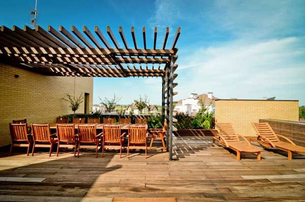 amazing inspiration ideas sun loungers. Apartments  Sun Loungers Wooden Floor Chair Table Pergola Brick Wall Terrace Patio Architecture Inspiration Ideas