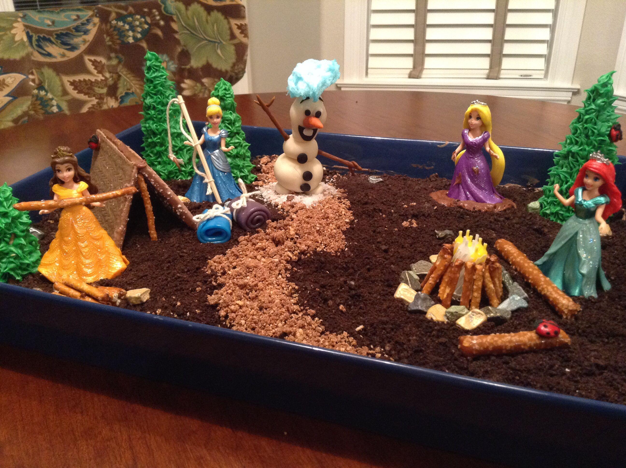 Princess camping dirt cake! Cinderella with a fishing pole