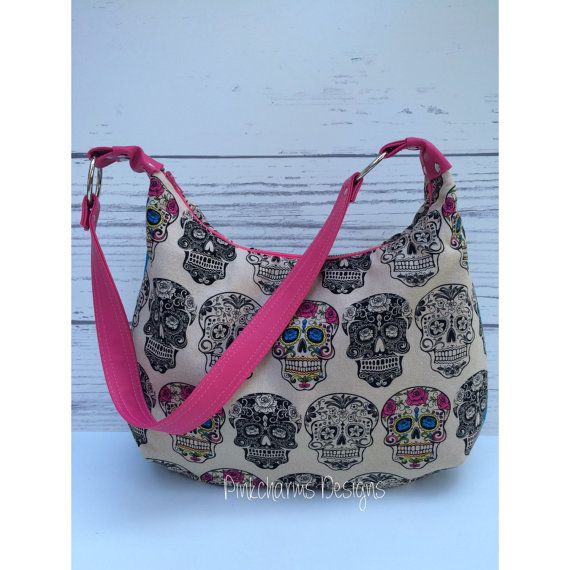Sugar Skull handmade zippered hobo bag 765364ee02629