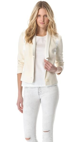 My favorite white blazer so far! The notched lapels are beautifully made of smooth white leather