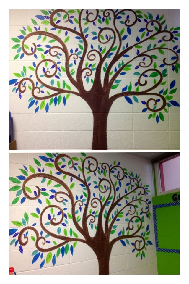 Classroom Decor Tree : I painted this swirly tree with blue green leaves to match