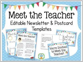 Meet the teacher newsletter and postcards editable for Free meet the teacher template