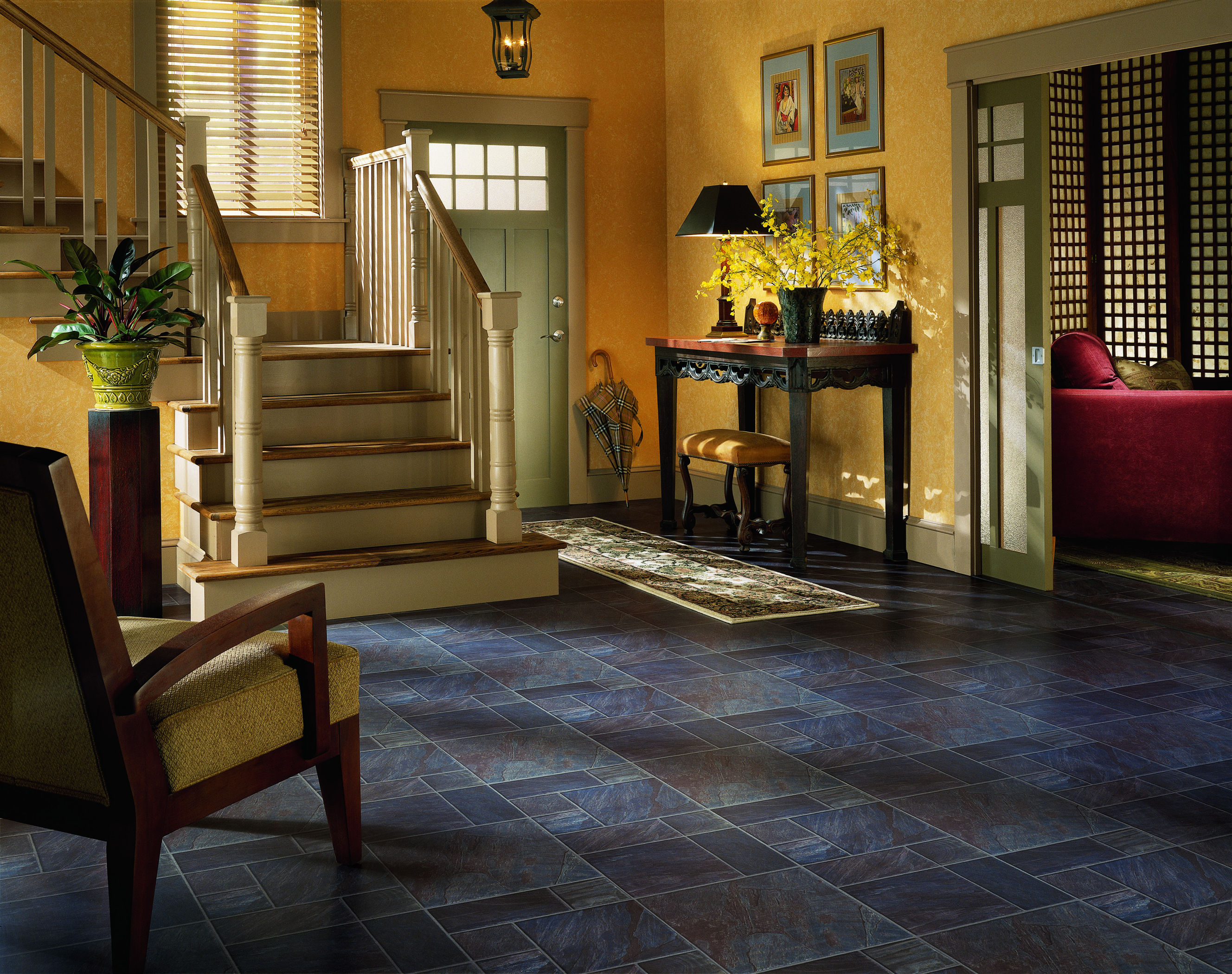 Staircase Ideas For Your Hallway That Will Really Make An: Country, Cozy Entryway. Yellow Walls And Dark Floors Can