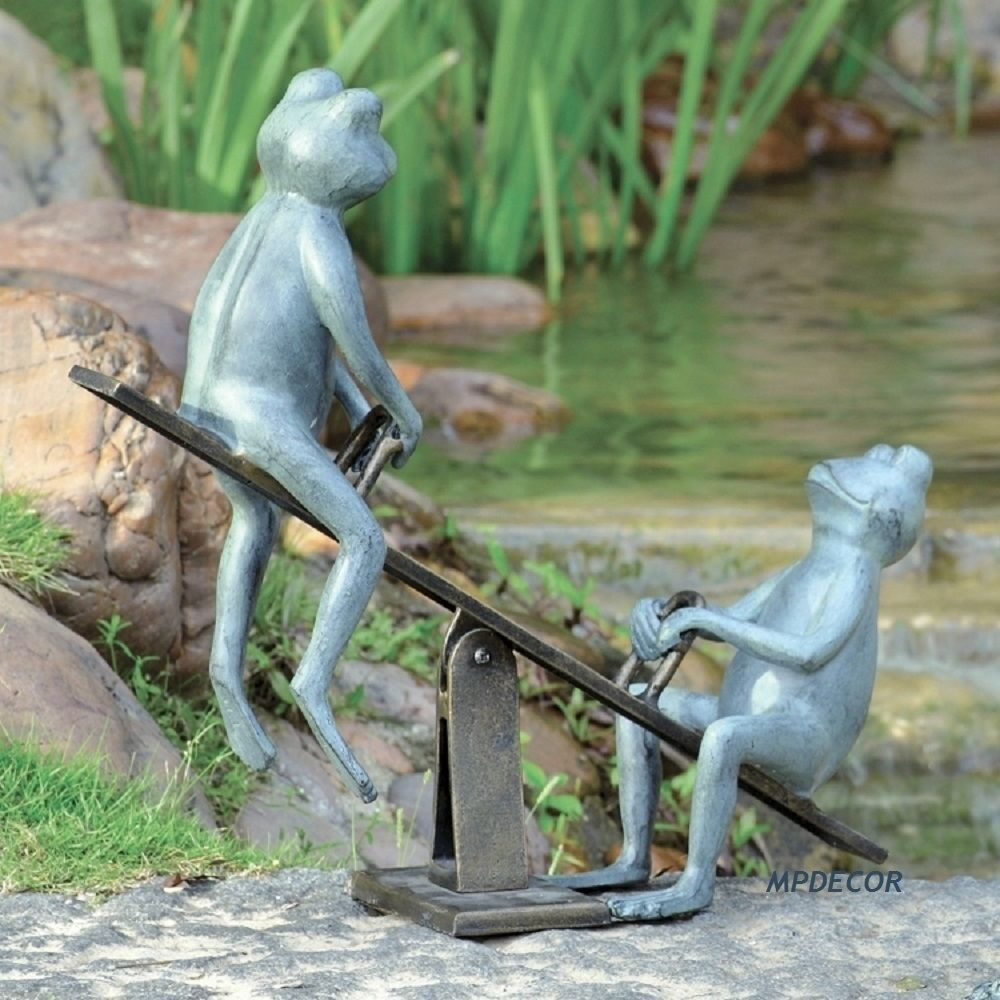 Playground Days Frog Garden Sculpture Statue Yard Pond Pool Decor #Whimsical