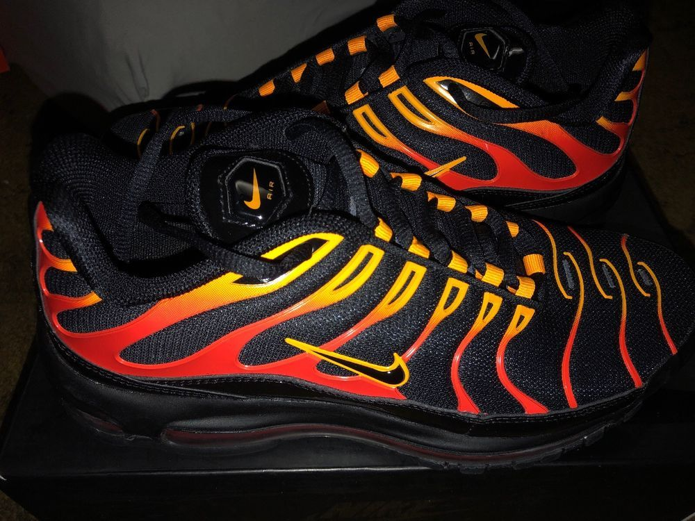 Nike Air Max 97 Plus Size 8 For Men Black Red Orange Fashion