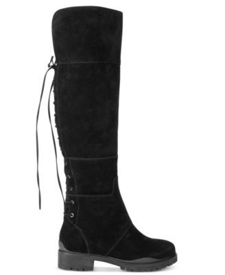 d58c762a530 Nine West Mavira Back Lace-Up Over-The-Knee Boots  229.00 Nine West  combines a utilitarian aesthetic with chic suede fabrication and lace-up  details in the ...