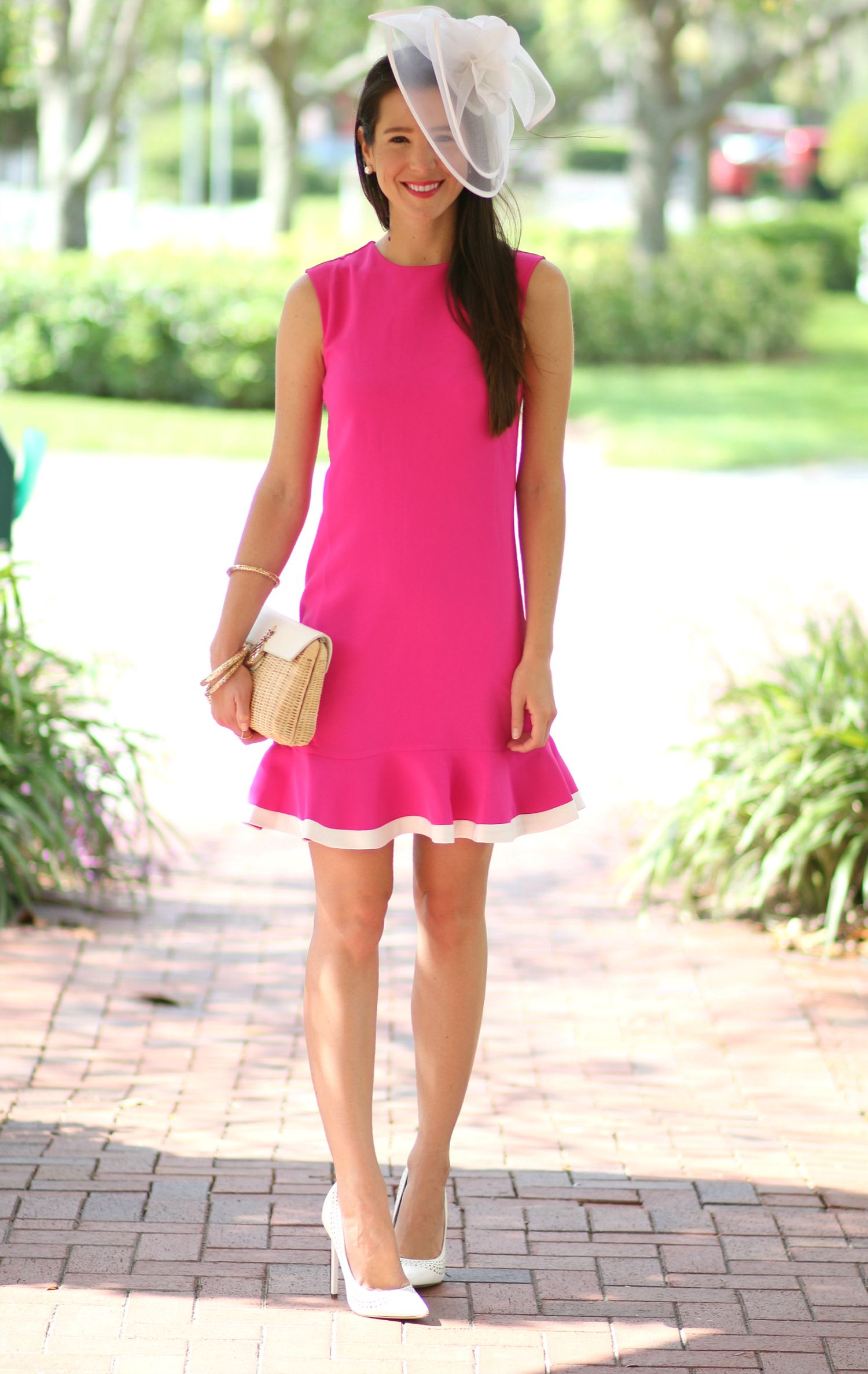 a6fccbf3daf20 Absolutely darling fuchsia Kentucky Derby dress by Victoria Beckham for  Target with a classic white fascinator from Etsy