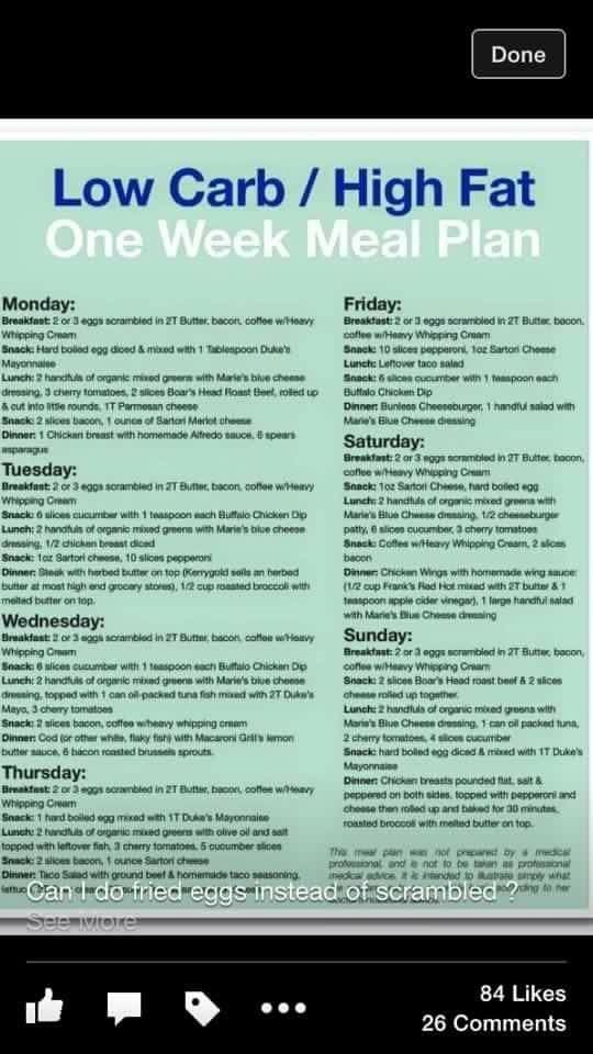INFOGRAPHIC: Low Carb, high fat meal plan....