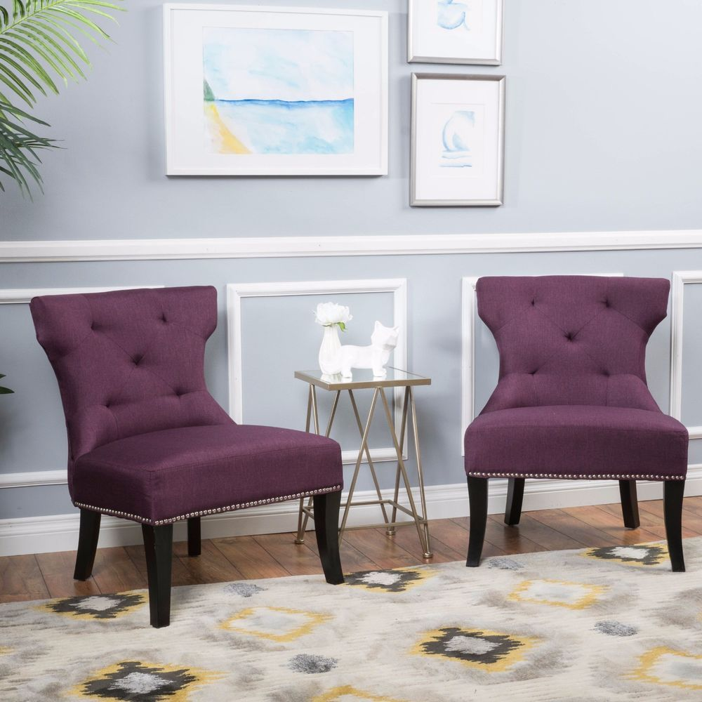 Accent Chairs For Living Room Set Of 2 Unique Purple Studded Fabric Chair  Dining