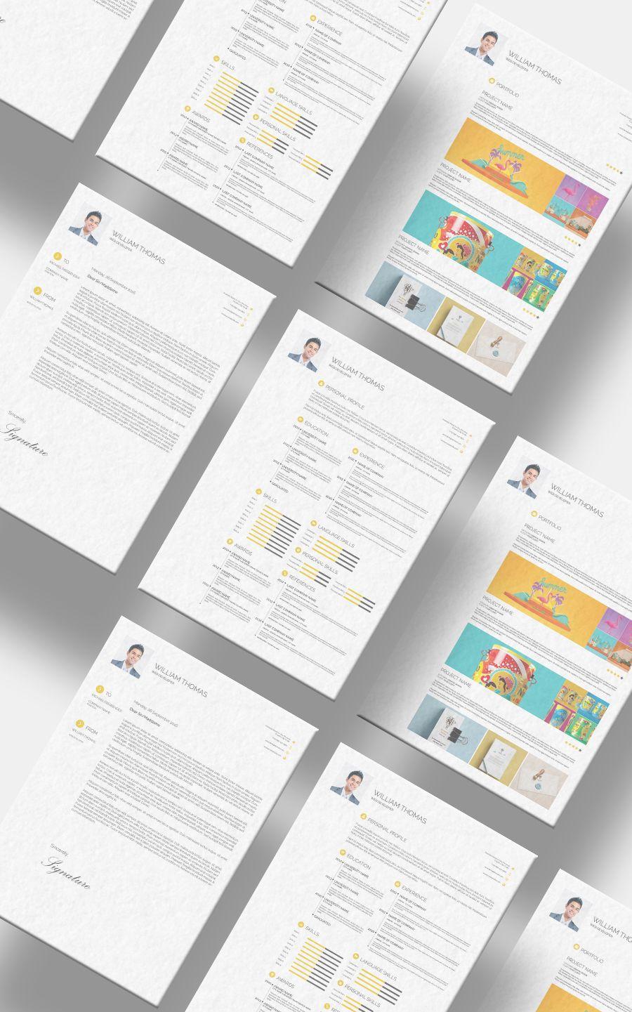 Free CV Resume Set Template Templates, Free design, Resume