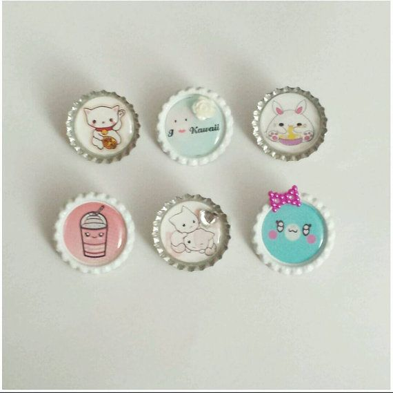 Check out this item in my Etsy shop https://www.etsy.com/listing/195566414/bottle-cap-pins-set-6-kawaii-anime-cutee