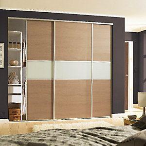 newest collection 6aab2 8b46e Wickes Sliding Wardrobe Door Fineline Oak Panel & Arctic ...
