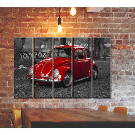 Big 5 Panel Set Of Vintage Classic Car Canvas Wall Art Canvas Print Poster Picture Volkswagen Vw Beetle Bug Wall Pr Cars Canvas Wall Art Vw Art Wall Canvas