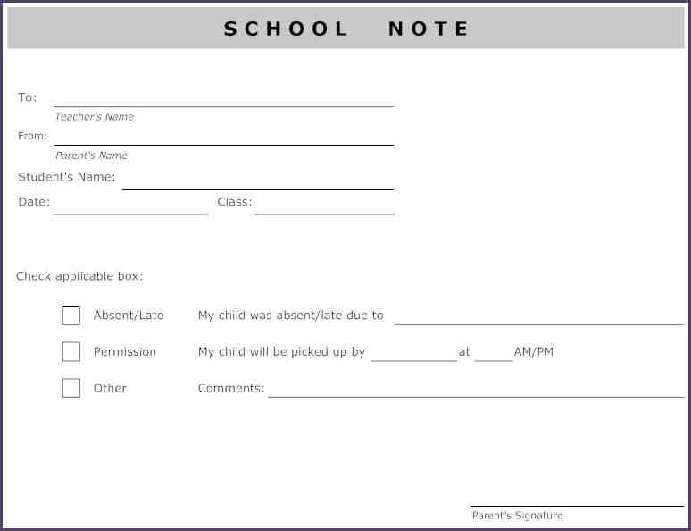 AbsentNoteForSchoolSchoolNoteFromParentL Absent Note For