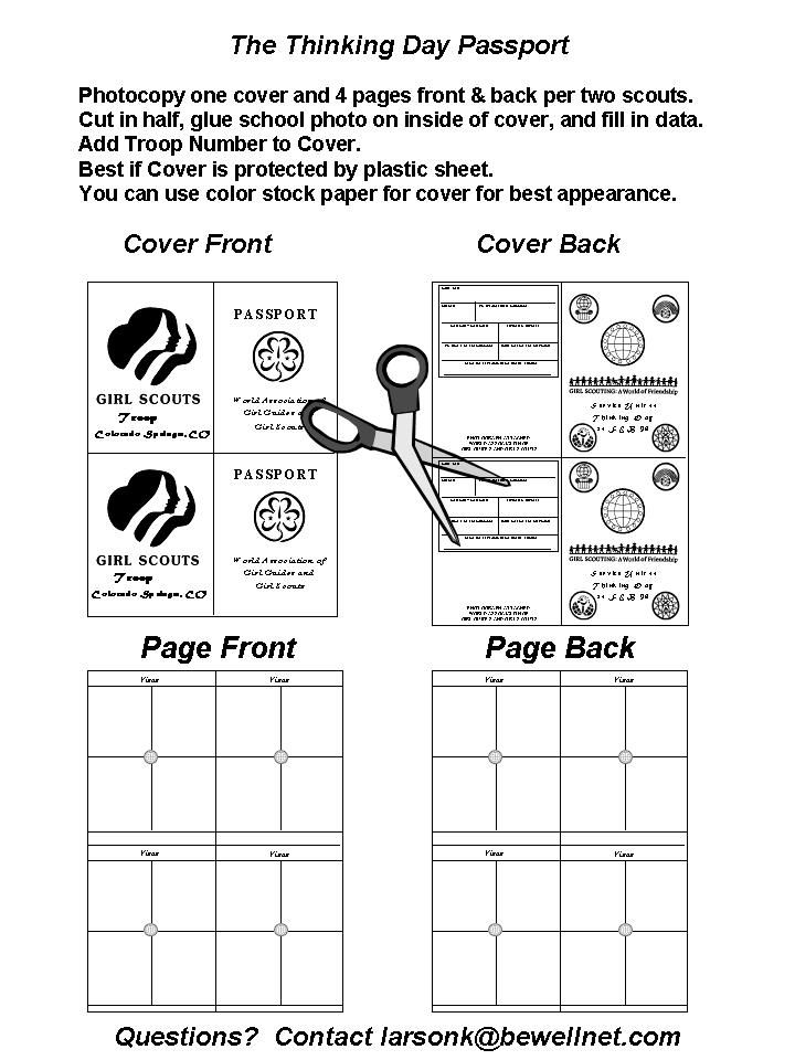 Girl Scout Thinking Day Passport Template  Extravital Fasion