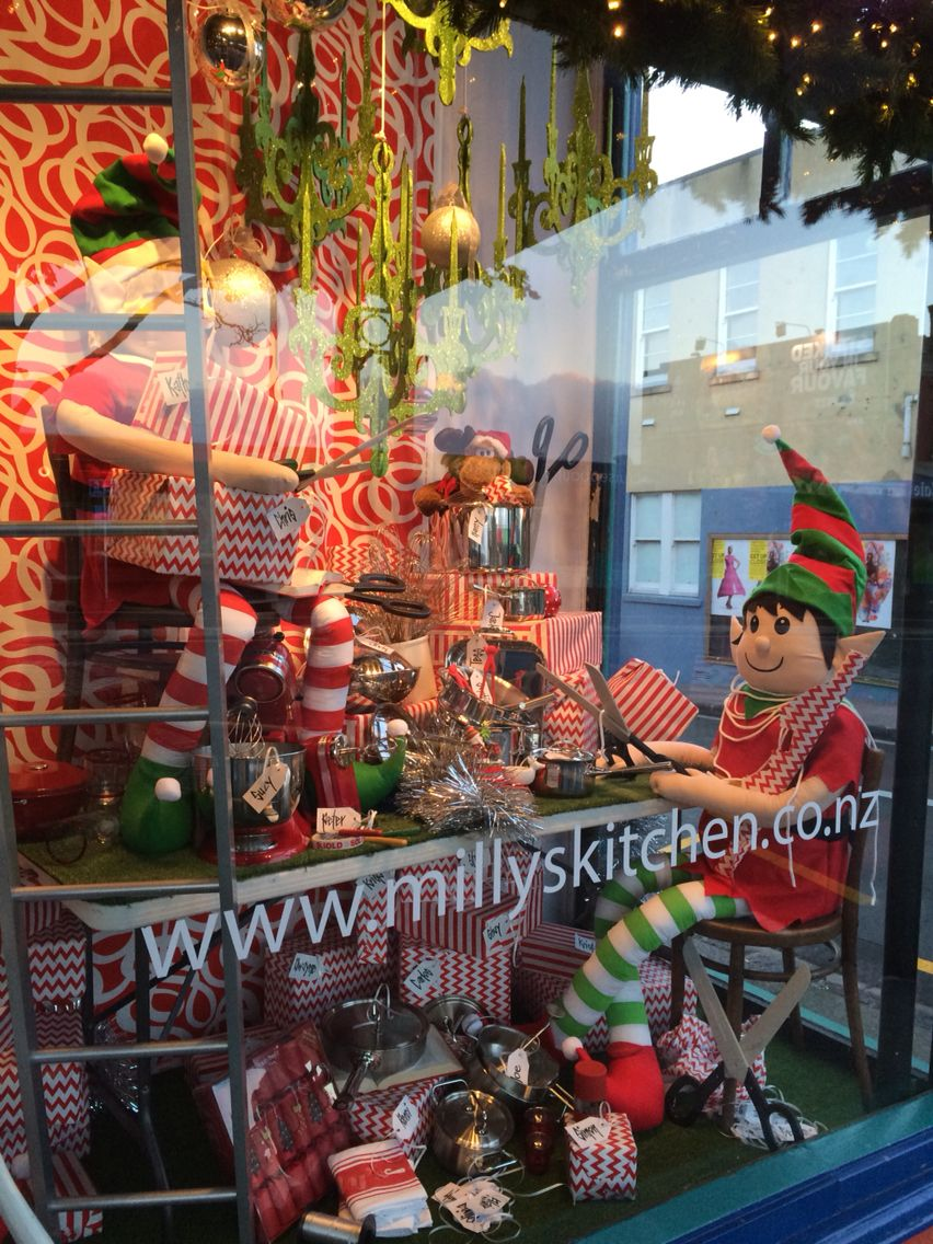 Milly S Kitchen Ponsonby Auckland New Zealand The Gift Wrapping Station Created By Ton Van Christmas Shop Window Christmas Display Gift Wrapping Station