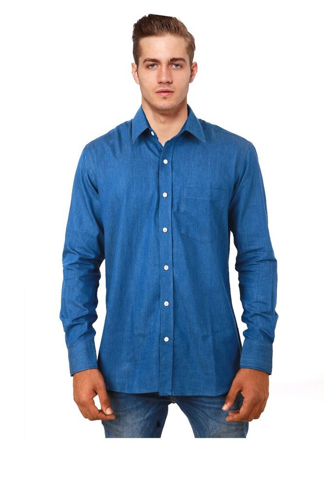 COBRIO  Indigo Blue Denim Long Sleeve Casual Slim Fit Shirt - Size  L #COBRIO #SlimFit