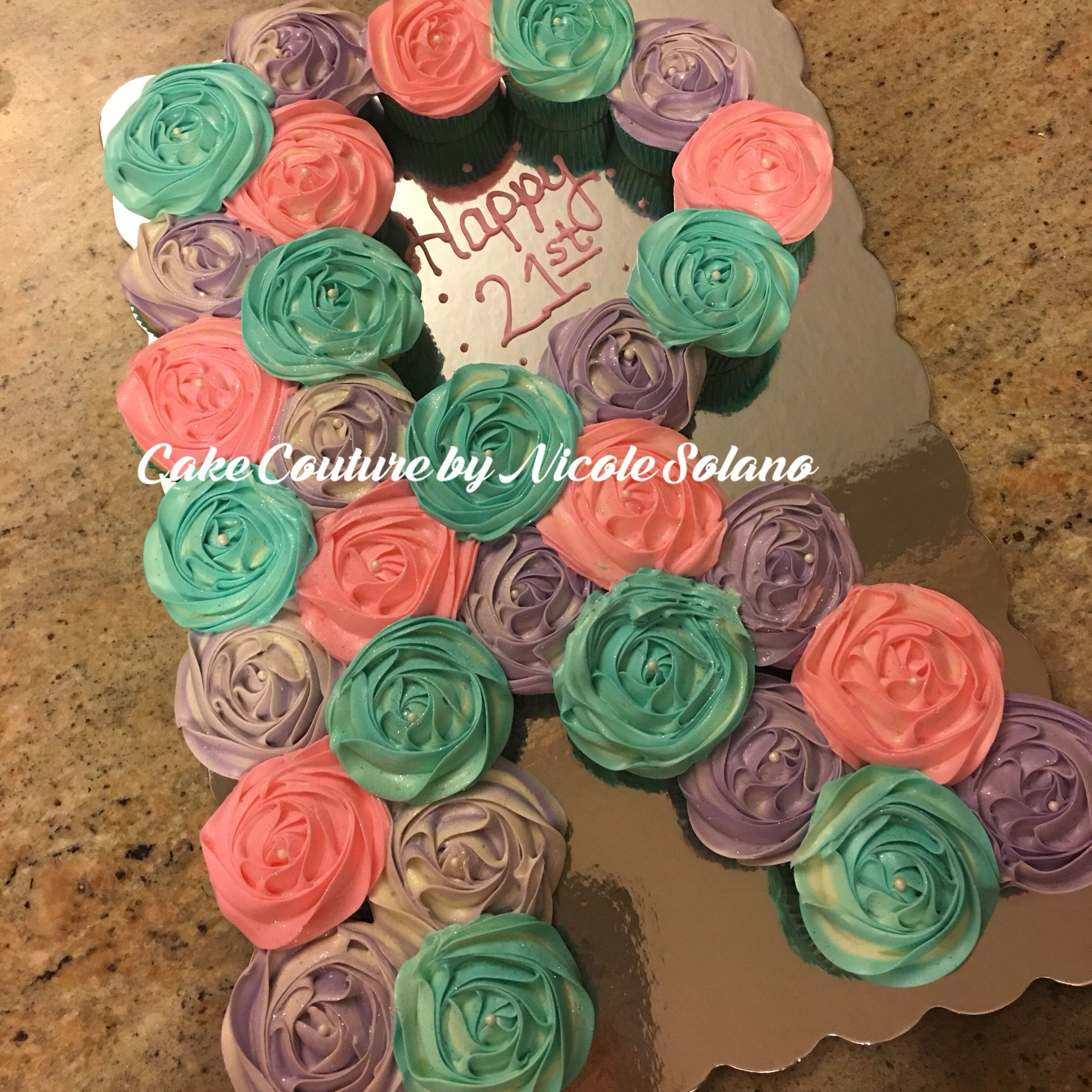 r monogram letter shaped pull apart cake made out of cupcakes