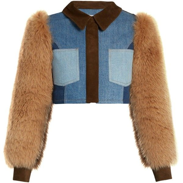 Sonia Rykiel Fur and suede-panel cropped denim jacket (€1.850) ❤ liked on Polyvore featuring outerwear, jackets, cropped jacket, cropped jean jacket, sonia rykiel jacket, fur jean jacket and sonia rykiel