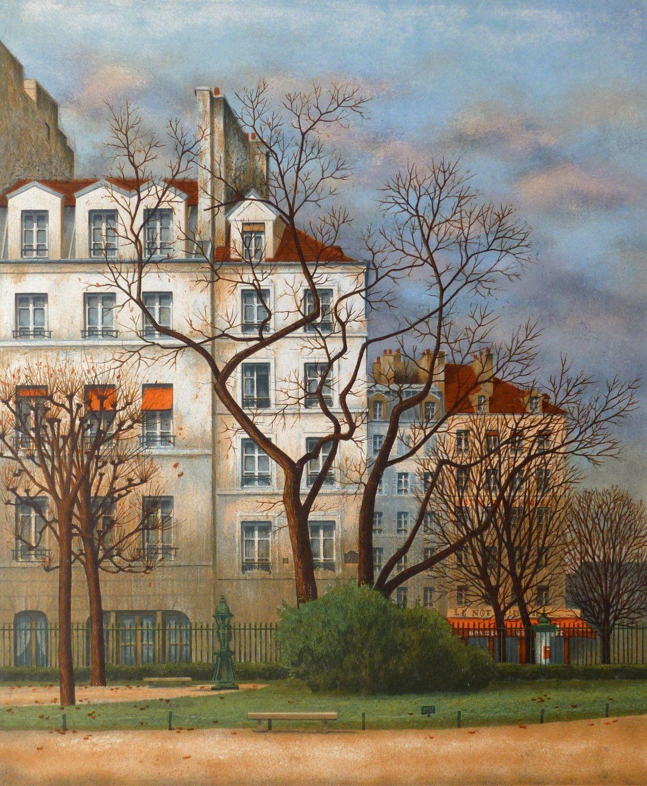 Andre Renoux Realist Figurative Print Square Viviani Paris Circa